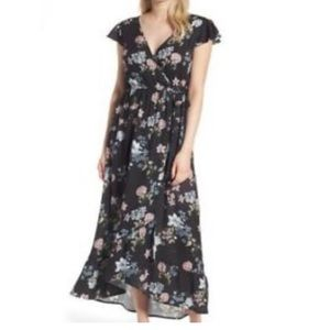 Band of Gypsies Floral Wrap Maxi Dress